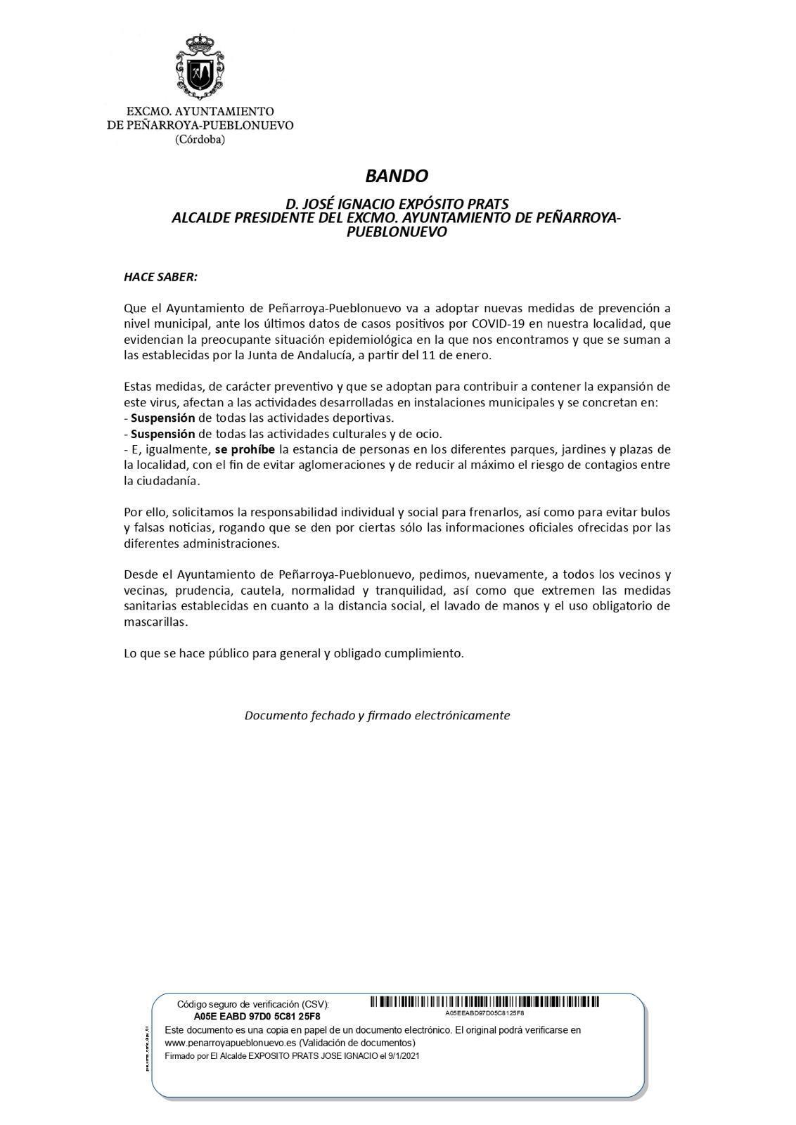 COMUNICADO EXCMO. AYTO PEÑARROYA-PUEBLONUEVO NUEVAS MEDIDAS PREVENCIÓN COVID-19 1