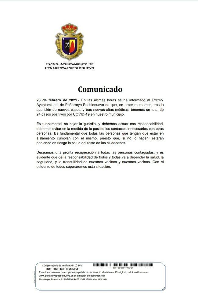 Datos COVID-19 Peñarroya-Pueblonuevo 28 Febrero 2021