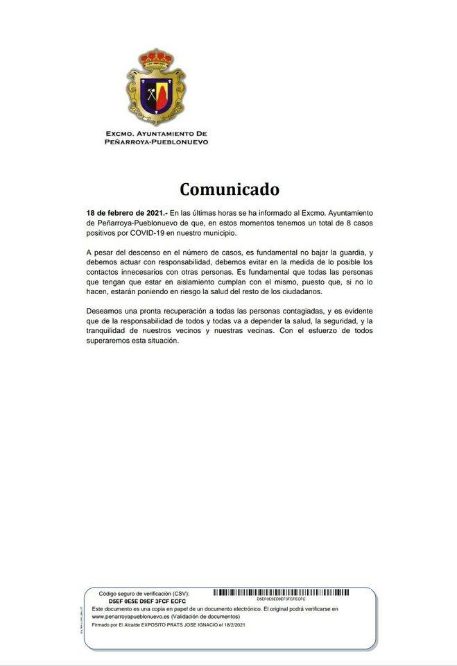 Datos COVID-19 Peñarroya-Pueblonuevo 18 Febrero 2021