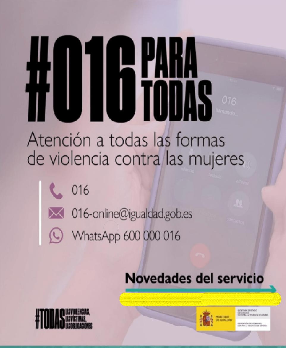 #016 ATENCIÓN A TODAS LAS FORMAS DE VIOLENCIA CONTRA LAS MUJERES