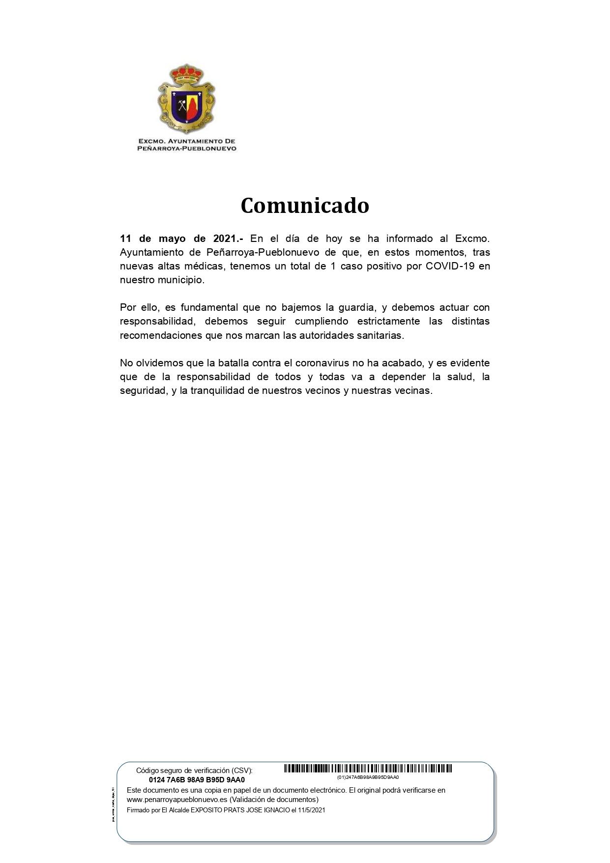 DATOS COVID-19 EN NUESTRO MUNICIPIO 11 DE MAYO 2021