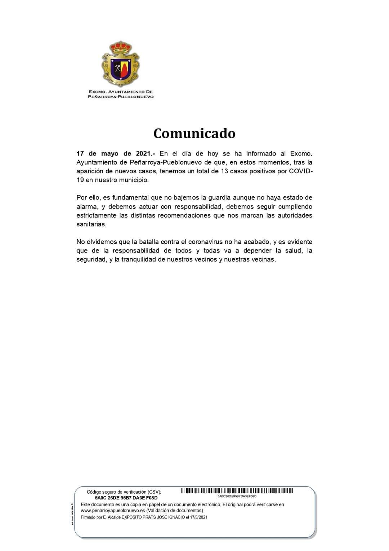 DATOS COVID-19 EN NUESTRO MUNICIPIO 17 DE MAYO 2021