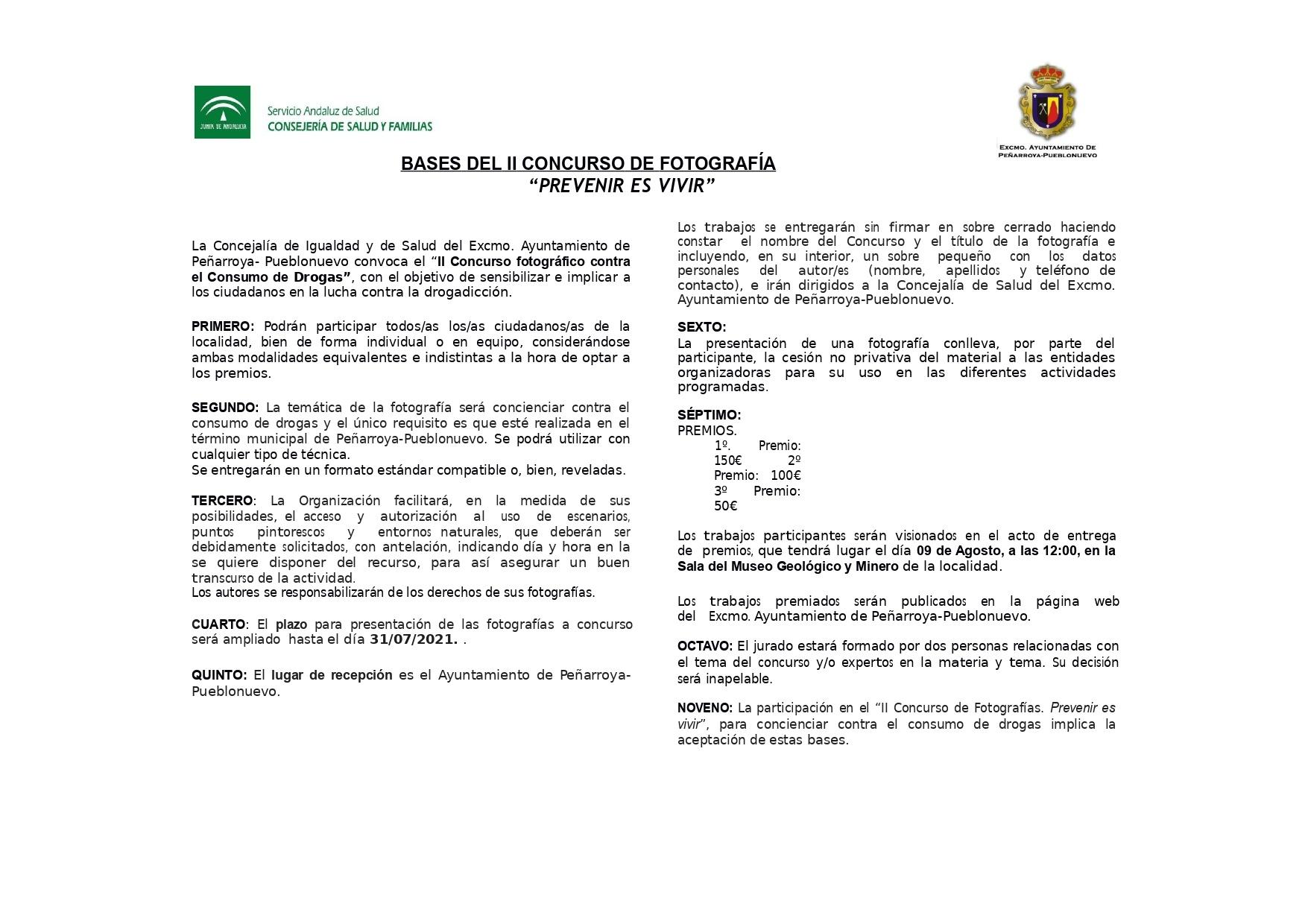 """Bases Concurso Fotografía """"Prevenir es vivir"""""""