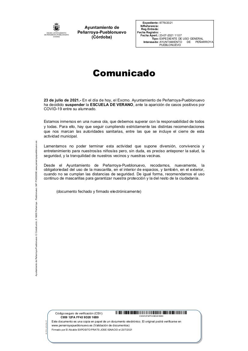 Comunicado suspensión Escuela de Verano por aparición de casos Covid19