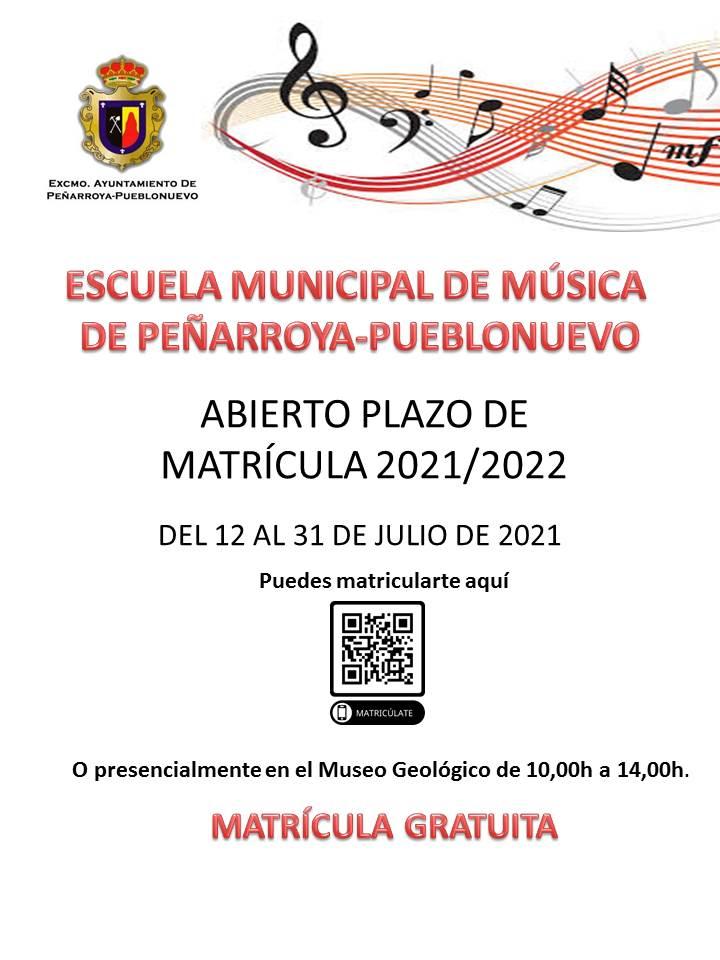 Matrícula Escuela de Música. 2021/22