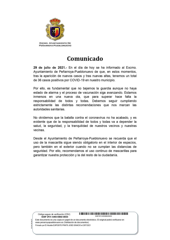 DATOS COVID-19 EN NUESTRO MUNICIPIO 29 DE JULIO 2021
