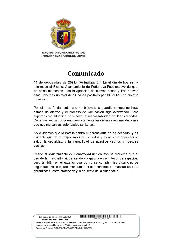 DATOS COVID-19 EN NUESTRO MUNICIPIO 14 SEPTIEMBRE DE 2021