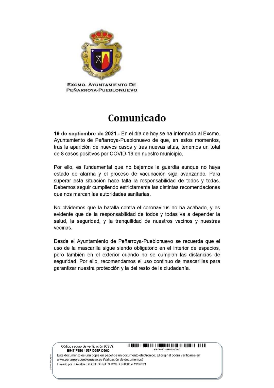 DATOS COVID-19 EN NUESTRO MUNICIPIO 19 SEPTIEMBRE DE 2021