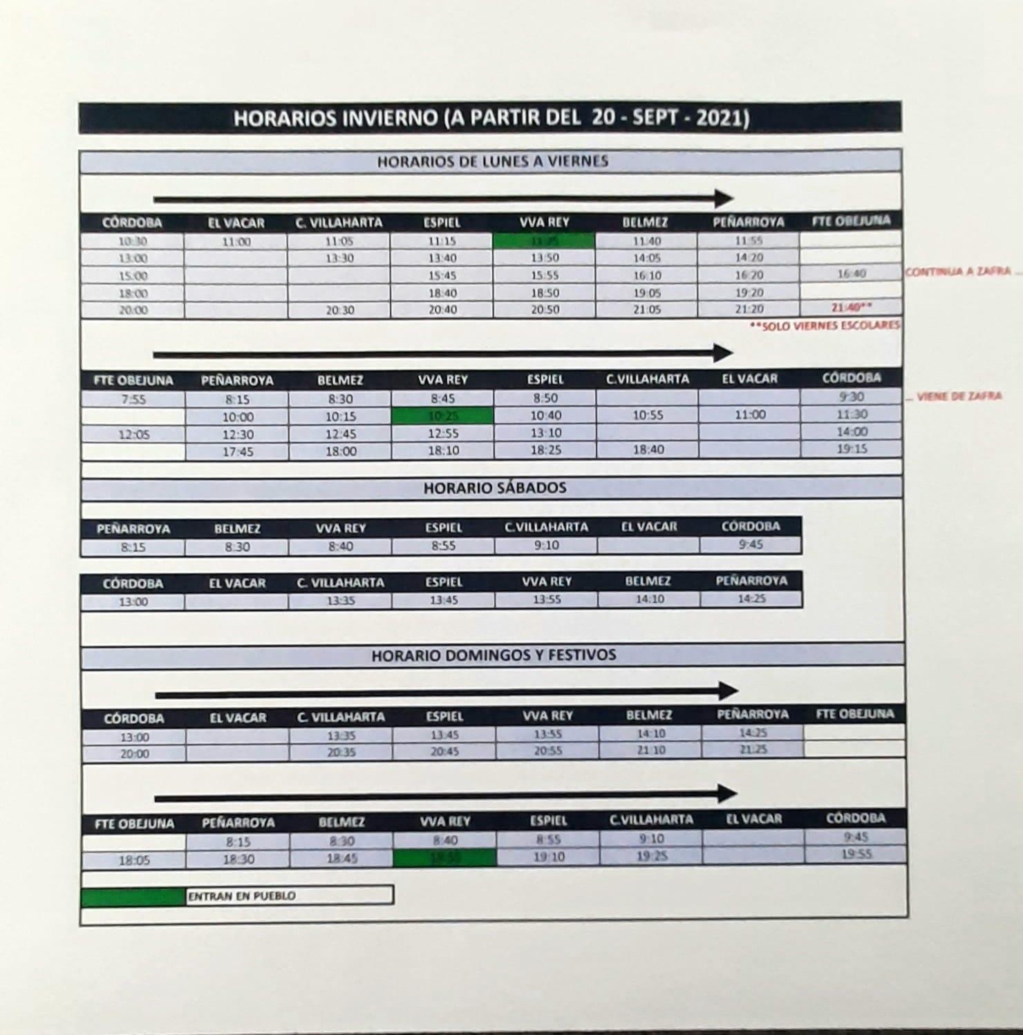 Horario de autobuses a partir del 20 de septiembre