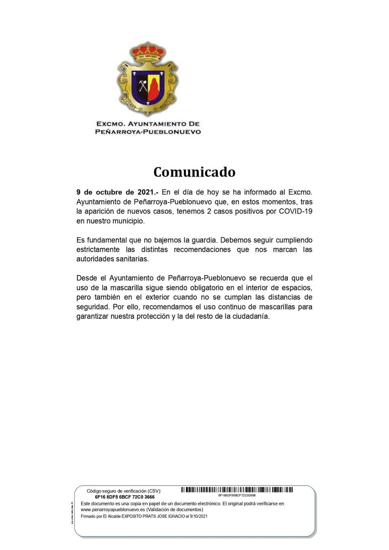 DATOS COVID-19 EN NUESTRO MUNICIPIO 9 OCTUBRE DE 2021